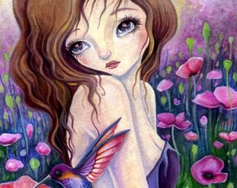 Poppy Love - Instant Download Digital Stamp / Animal Bird Hummingbird Flora Flower Fantasy Fairy Girl by Ching-Chou Kuik