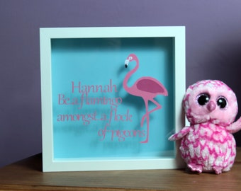 Be a Flamingo amongst a flock of pigeons, framed papercut, personalised papercut, personalized wall art, papercut gift