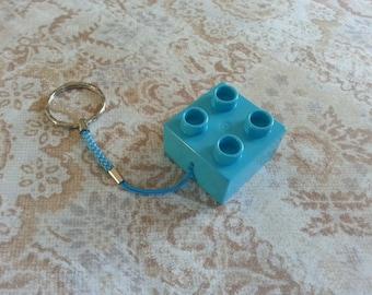 Keyring original brick construction cube blue