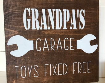 Grandpa's Garage Wood Sign
