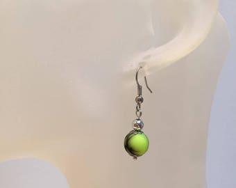Neon yellow pearl earrings