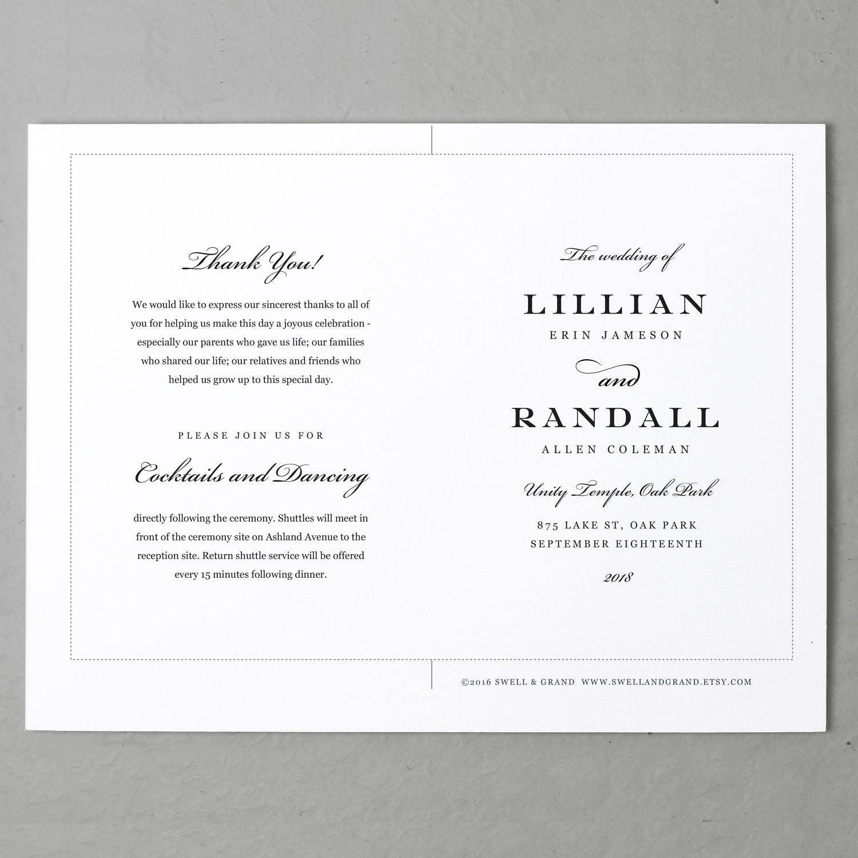 Wedding Program Template, Printable Wedding Program, Folded, Order ...