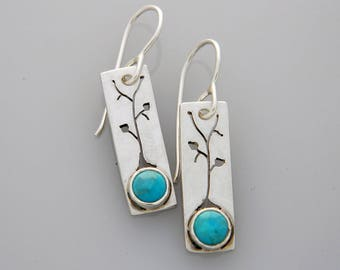 """Silver jewelry, silver tree earrings, nature jewelry with turquoise """"Spring Tree"""""""