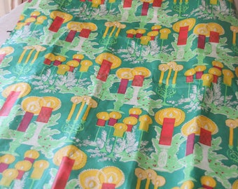 Vintage Christmas Light Weight Wrapping Paper, Christmas Candles, Vintage Gift Wrap, Vintage Christmas, Repurpose, Christmas Crafting