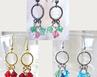 Multi Color Crystal Dangle Hoop Earrings, Hoop Earrings with Beads, Red Blue Green Pink Crystal Chandelier Earrings, Handmade Beaded Jewelry
