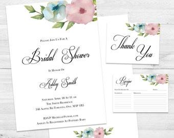 Wedding invitations etsy ca bridal shower invitation floral bridal shower invite thank you cards bridal shower kit stopboris Image collections
