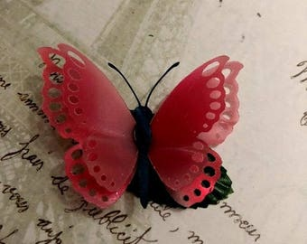 Pink Butterfly Hair Clips, Hair Fascinators, Prom, Wedding, Bridesmaids, Wedding Decorations