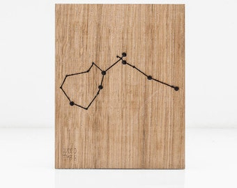 Aquarius Constellation Picture - Zodiac -Wooden handmade - Woodworking - Wood - Sign - Wall Art- Custom - Personalized - Gift - 11 cm x14 cm
