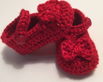 Crochet Baby Booties, Baby Shoes, Maryjanes, Wizard of Oz, 0-3 Months