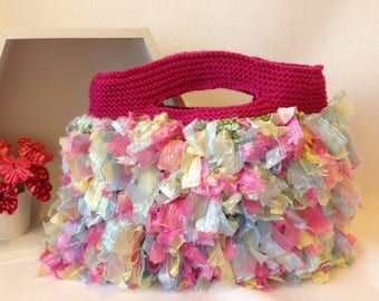 Varigated Pink and Blue Yarn and Ribbon Knitted Handbag