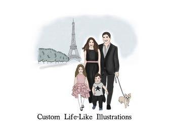 Modern Custom Family Illustration, Custom Family Illustration, Custom Fashion Portraits, Custom Family Art, Modern Family Illustrations