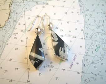 Very Large Sterling Silver Fossil Earrings - Black & White - 15g