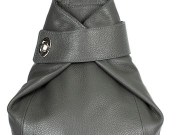 LiaTalia Large\Medium Sized Genuine Italian Leather Twistlock Detail Backpack Bag with Protective Dust Bag - Willow [Deep Grey]