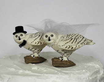 Owl Wedding Cake Topper, Bride and Groom, Barn Wedding, Bird Cake Topper, Rustic, Hoot Owls, Anniversary Cake Topper