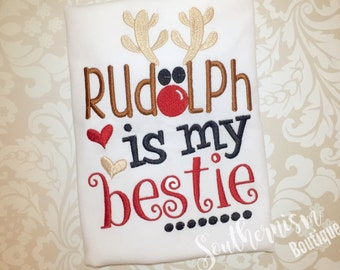 Christmas Shirt, Sibling Christmas, Embroidery, Rudolph Best, Reindeer shirt, Personalized, Monogram, Boys Christmas, Girls Christmas