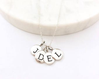 Silver 4 Initial Charm Necklace - Personalized