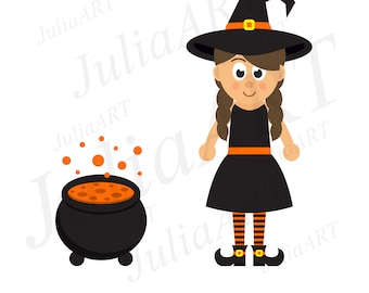 cartoon witch girl vector image