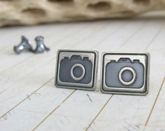 Camera photographer stud earrings. Sterling silver handmade post photography jewelry.  Minimalist cute picture.  Rustic oxidized brushed