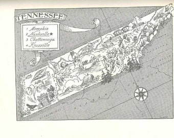 Tennessee Map Print / State Map Art / 1950s Vintage Wall Decor / Old Map Wall Art Print / Travel Map Nursery Decor / State Home Decor