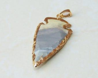Natural Jasper Arrowhead Pendant. Arrow Pendant - Arrow Jasper Slab Bead - Jasper Pendant - Gold Plated Edge and Bail - 25mm x 49mm - 8382