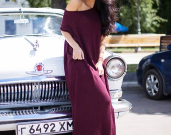 Maxi Dress in Deep burgundy Loose fit maxi dress Oversized Casual dress Vegan knitwear