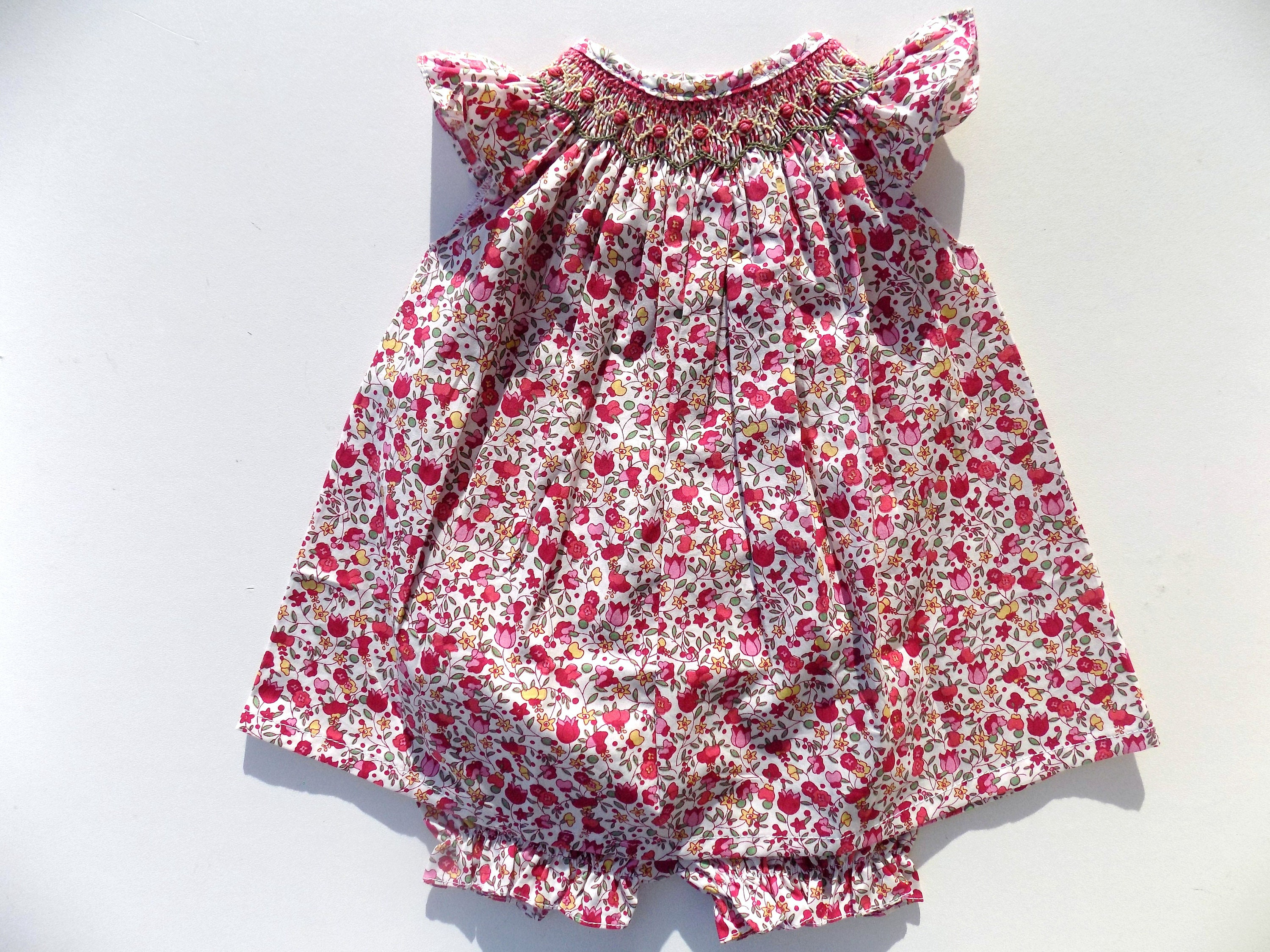 Dress liberty printed red dress smocked baby girl baby dress