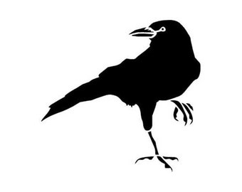 "Crow Raven Blackbird - Vinyl Decal Sticker - 4"" x 3.75"" - 24 Colors - [#0186]"