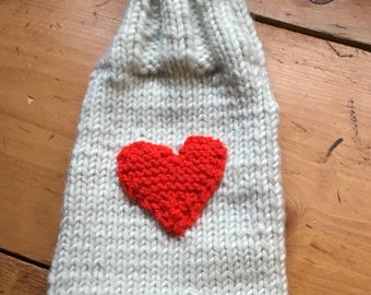 Red heart wine bottle cover
