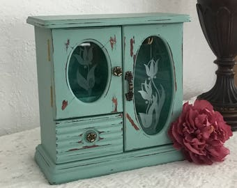 Distressed vintage jewelry armoire , jewelry box, chalk paint, Shabby Chic, vintage jewelry box, wooden jewelry box, upcycled