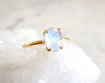 Moonstone Engagement Ring - Oval Moonstone, Delicate Moonstone Ring, Solitaire, June Birthstone, Rainbow Moonstone, Blue Moon
