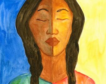 Luna y Sol~ Woman in Sun and Moon~ Original Watercolor Painting Print~