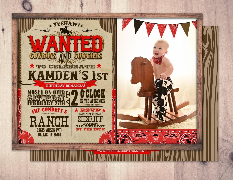 Vintage Cowboy Invitation, boy birthday, cowgirl, rodeo, western ...