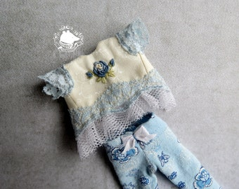 Light blue Blythe outfit hand embroidered rococo rose top and flower print leggings doll clothing