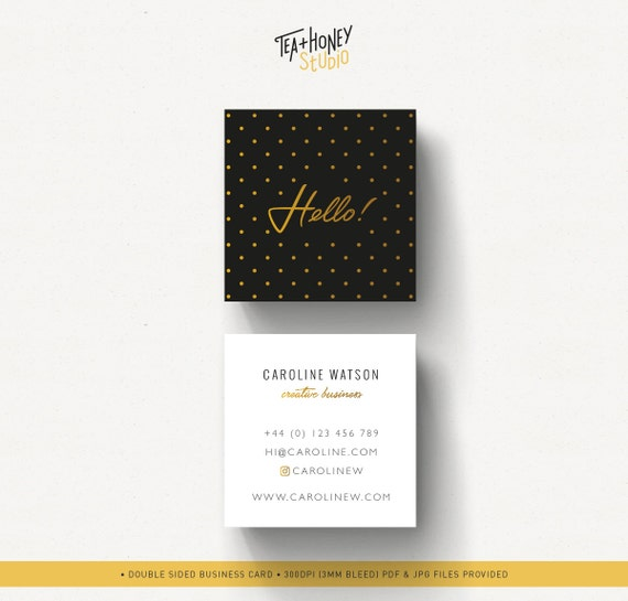 Square business card gold dots pattern calling card gold and reheart Gallery