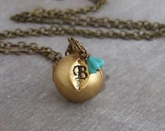 Ball Locket .. personalised locket, brass locket, initial locket, orb, sphere, letter locket