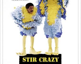 Pryor & Wilder Comedy Stir Crazy Movie Poster Feathers Funny Jailbird 24x36
