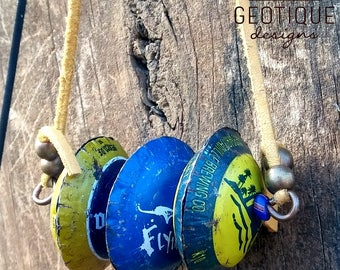 Upcycled Bottle Cap Bead Necklace -Yellow and Blue