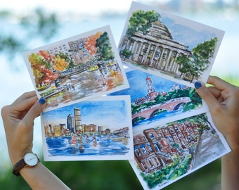 Boston Watercolor Prints or Postcards,  Collection of 5