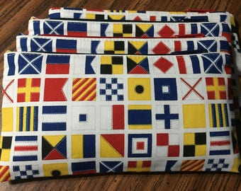 Nautical zipper pouch/accessory case