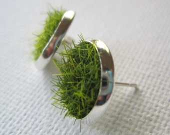Green Grass Earring Posts Silver or Brass