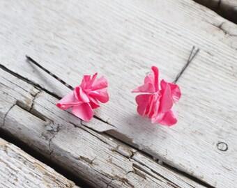 Bridal Hair Pins, pink rosette hair pins, Wedding Hairpins, flower Bobby Pins, Hair Pins - Set of 2 , fairy dress up, flower hair pins
