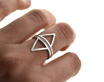Mountains and rivers - silver stacking rings