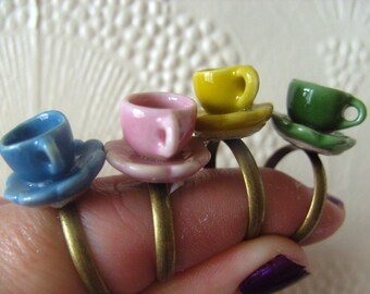 Cute, tea cup, ring ,Tea party, Choose colour, Alice in Wonderland, adjustable ring, by NewellsJewels on etsy