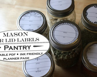 Mason Jar Lid Labels - Printable Garden Planner Page for Garden Journals