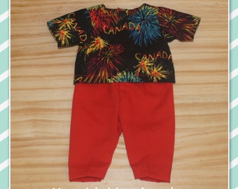 11 - 13 inch Baby Doll Clothes - Top and Pants - Shirt with Canada Fireworks and Red Pants
