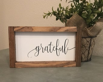 Grateful 14x8 MORE COLORS / hand painted / wood sign / farmhouse style / rustic