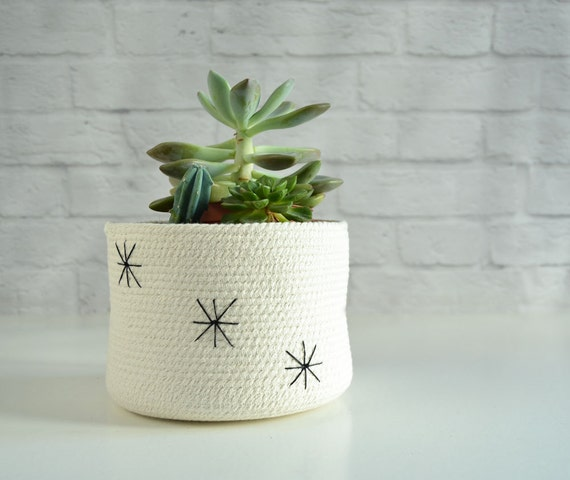Succulent pot, Indoor planter, Nordic style, Yarn storage Bathroom basket, Plant pot Cotton pot, Natural decor Planter container Kids basket