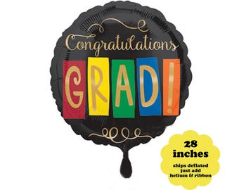 Congratulations Grad Balloon - 28 inches - Graduation Party Decorations  Graduation Balloon Large Foil Balloon Class of 2018 Decorations