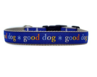 1 Inch Wide Dog Collar with Adjustable Buckle or Martingale in Good Dog Blue