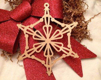 Extra Large Wooden Laser Engraved Snowflake (Style D)